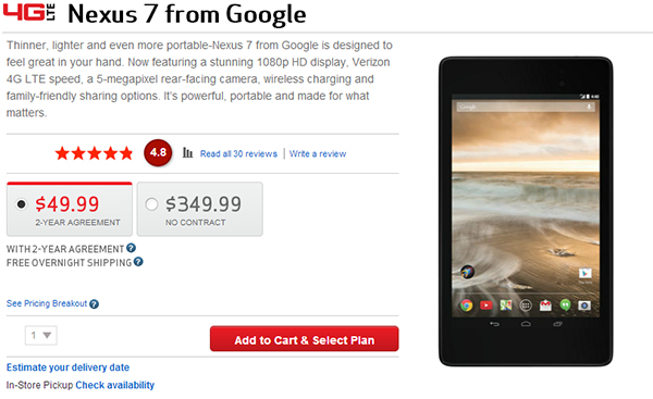 Google Nexus 7 2013 now costs $49.99 on contract at Verizon