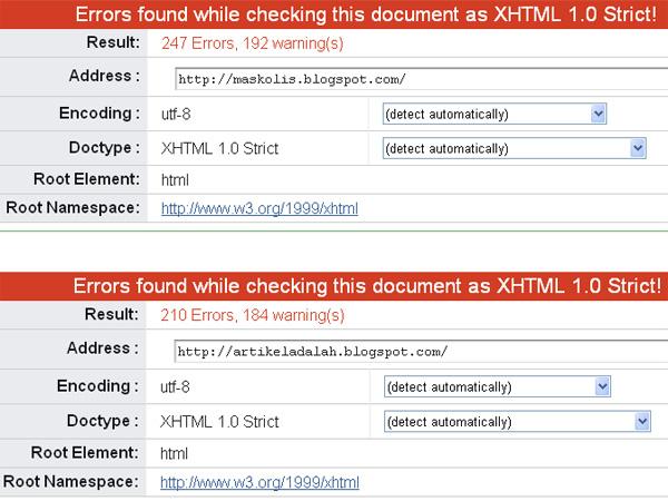 Validasi HTML Template Maskolis