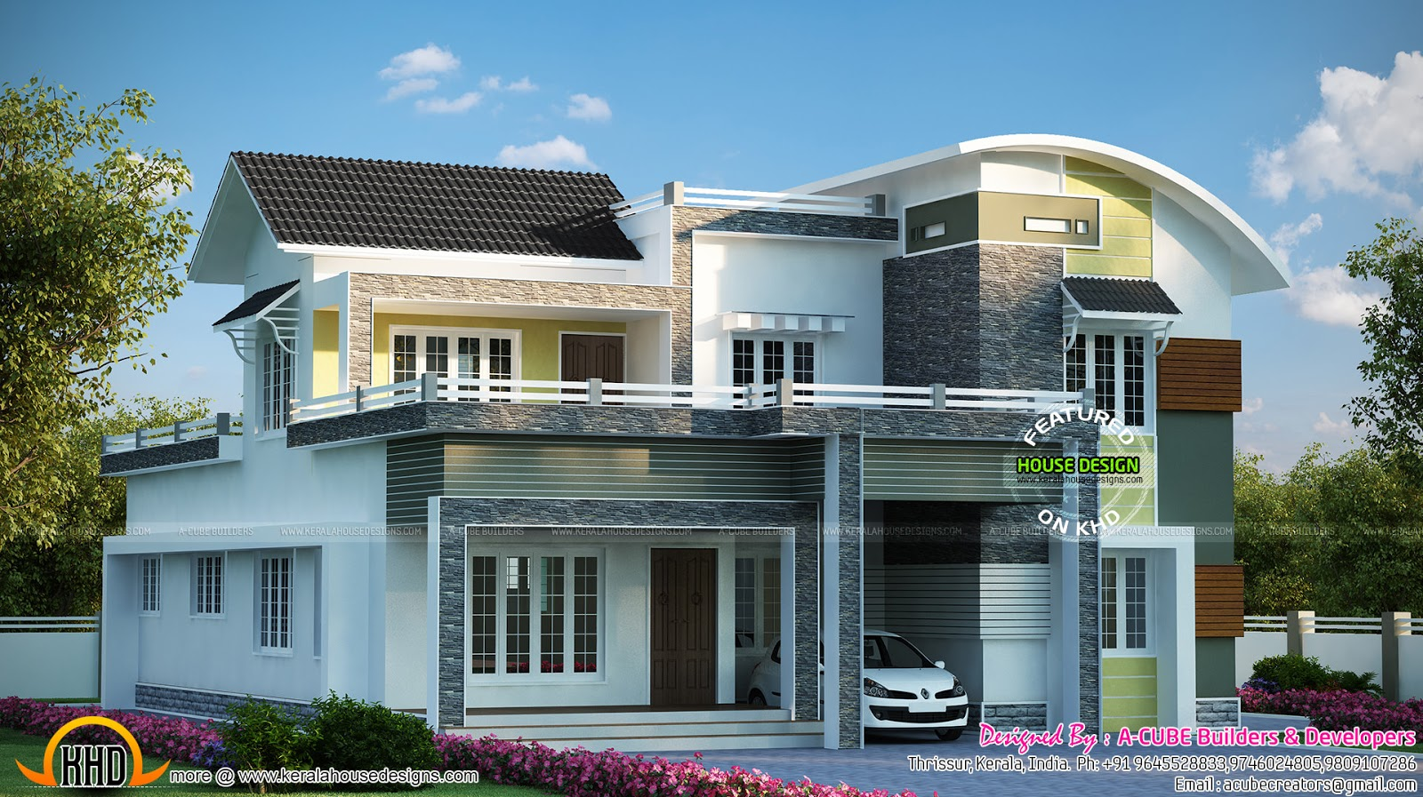 2760 Sq Ft Curved Roof Mix House Plan Kerala Home Design