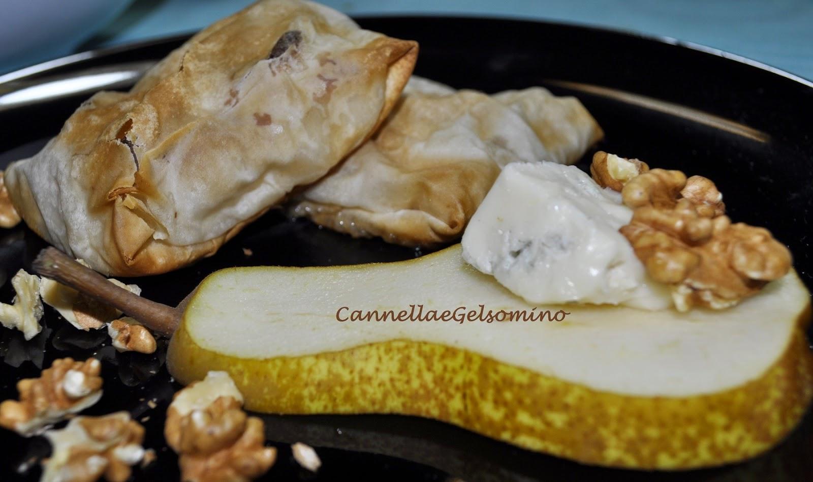 fagottini di pasta fillo gorgonzola e pere
