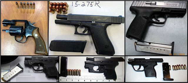 Clockwise from top left, firearms discovered in carry-on bags at ATL, MSY, ELP, HOU, DSM, and BZN