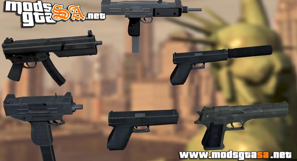 SA - Pistolas e Metralhadoras do GTA IV