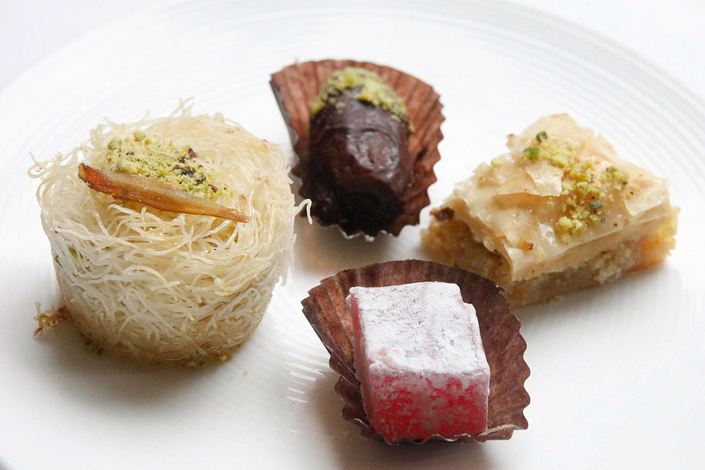 Kunafa, Turkish Delight, Baklava, Dates with Pistacchio and Marzipan