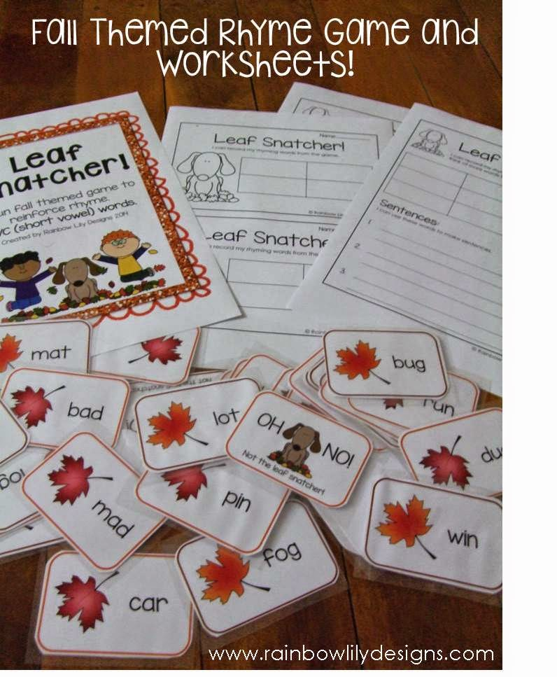 Excellent activity to go with the fall theme.  #rhyme #kindergarten #RainbowLilyDesigns