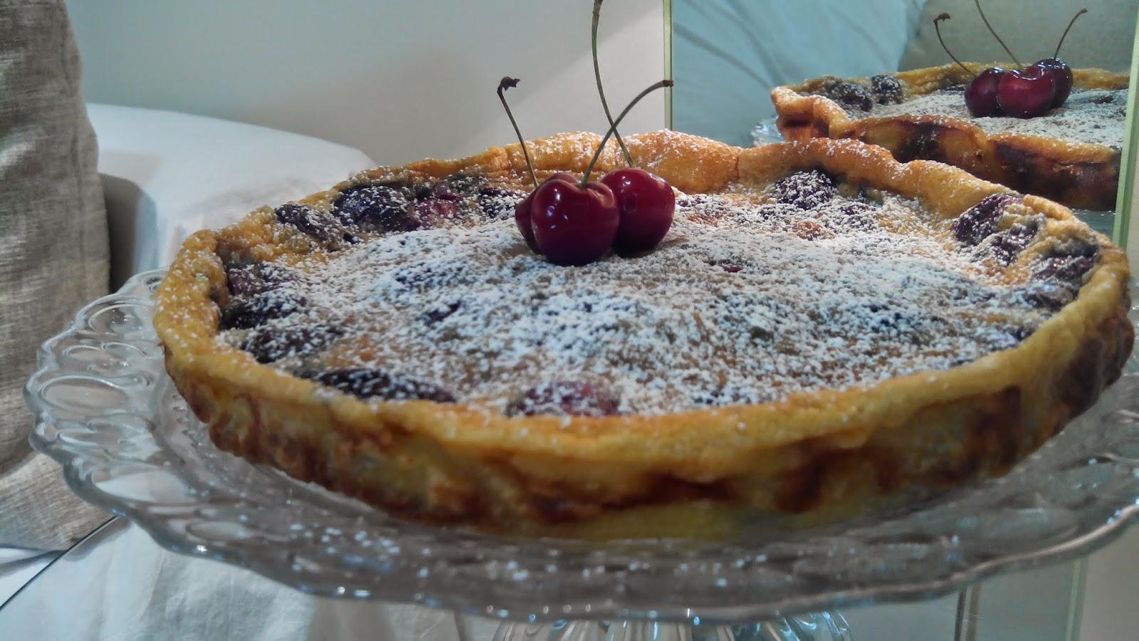 Tarta de cerezas, pastel de cerezas, clafoutis de cerezas, tarta, cerezas, tarta de fruta