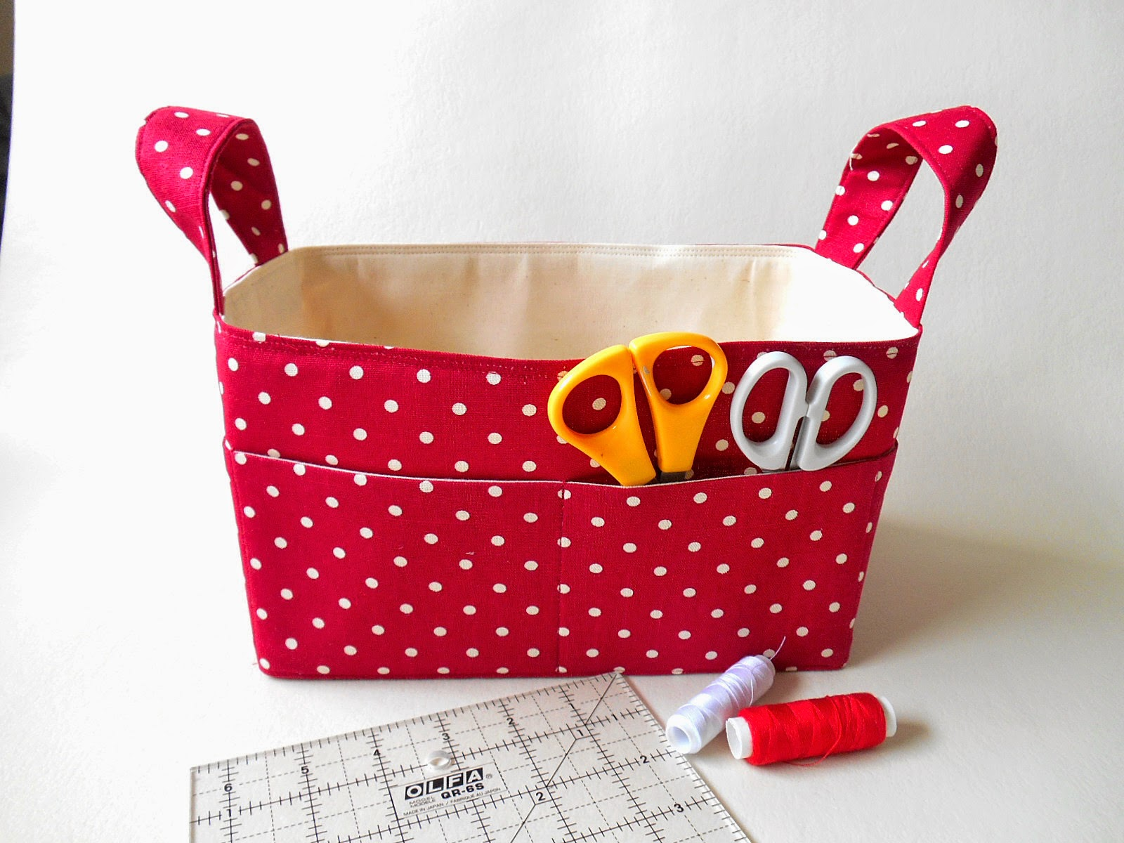 red spots fabric basket