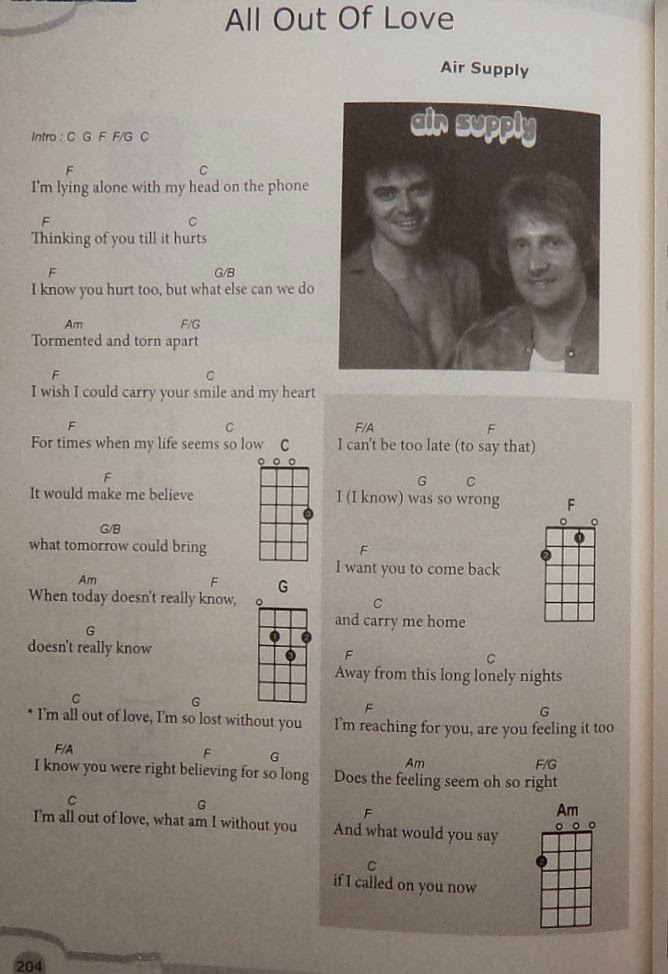 Air Supply Im All Out Of Love Ukulele Chords Guitar Chords