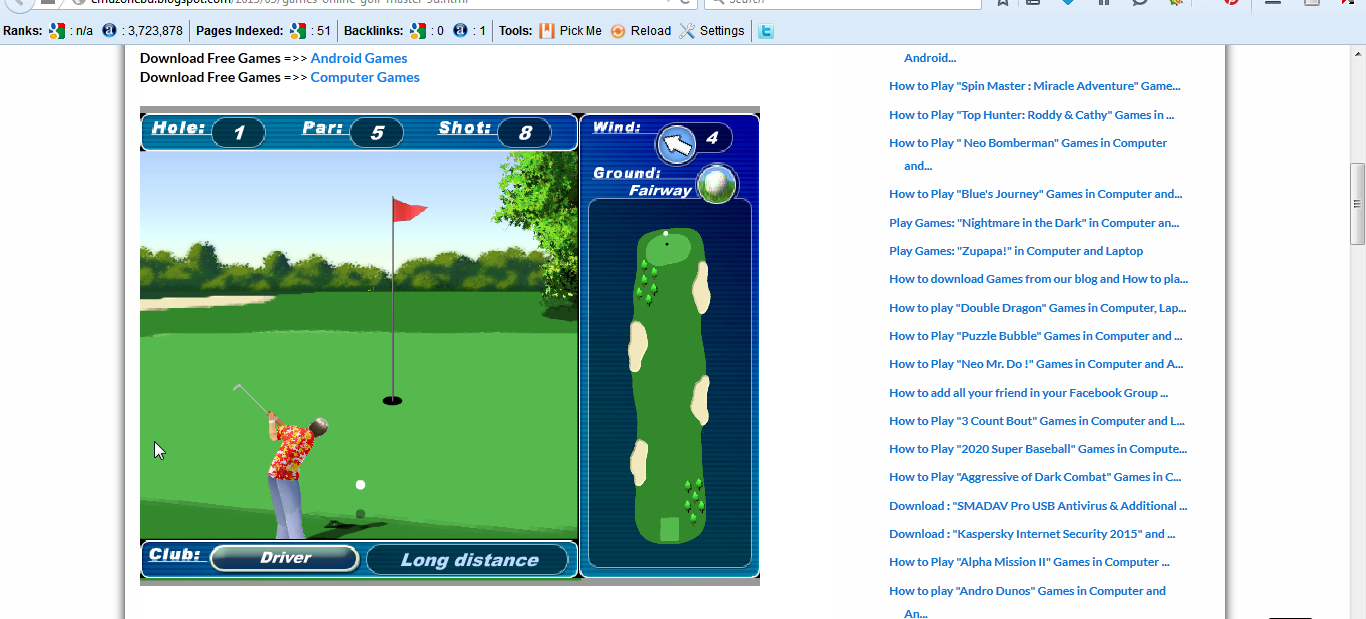 Free Online Games Golf Master 3d In Computer And Android