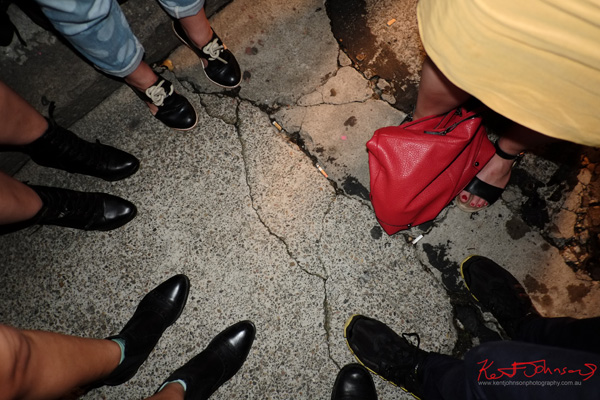Circle of shoes and red bag, Art Month Sydney art party Darlinghurst Sydney 2013