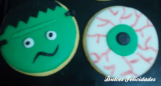 Galletas Frankenstein y ojo halloween fondant
