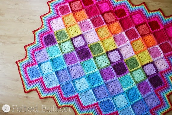 Free Crochet Harlequin Blanket Pattern : Felted Button - Colorful Crochet Patterns: Happiness ...