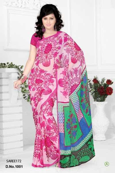 Buy Printed Georgette Saree Online