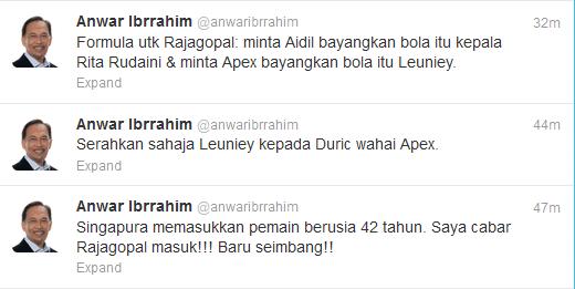 Anwar Ibrrahim Salahkan Apek dan Safee Malaysia Kalah, Piala Suzuki 2012 (AFF), Twitter Anwar Ibrrahim, Khairul Fahmi Berkahwin, Saya kenal pemain saya, #sayakenalpemainsaya