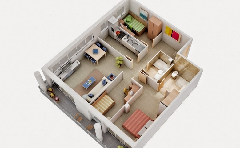 Awesome Spacious 3 Bedroom House Plans Images 3D House DesignsEmejing Efficient 3 Bedroom House Plan Designs Gallery   3D house  . 3 Bedroom House Designs 3d. Home Design Ideas