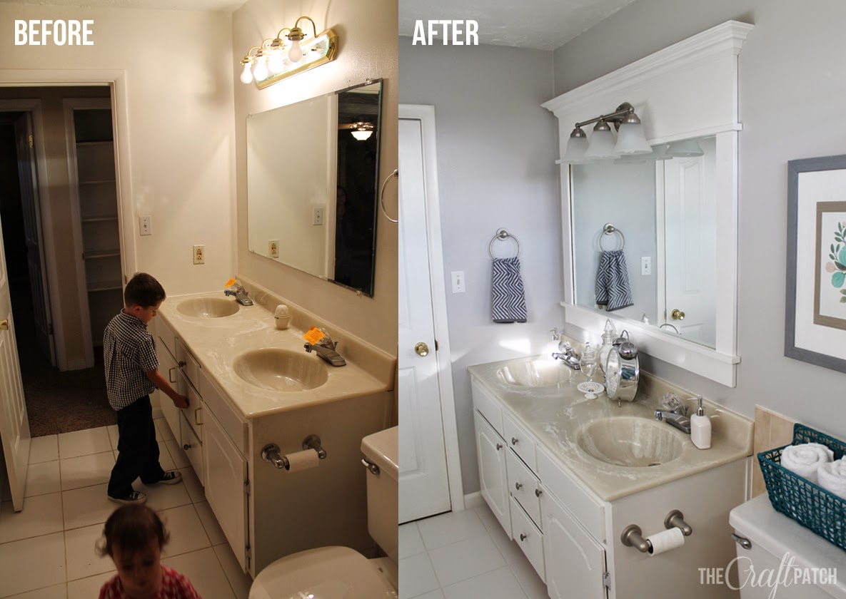 Bright and beautiful budget bathroom remodel Cheap bathroom remodel before and after