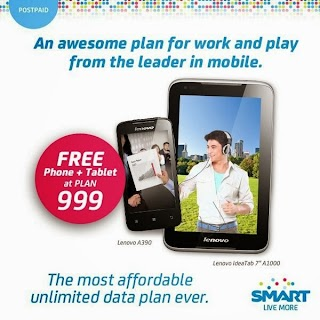 Lenovo A390 and Ideatab A1000 free bundle at Smart Plan 999