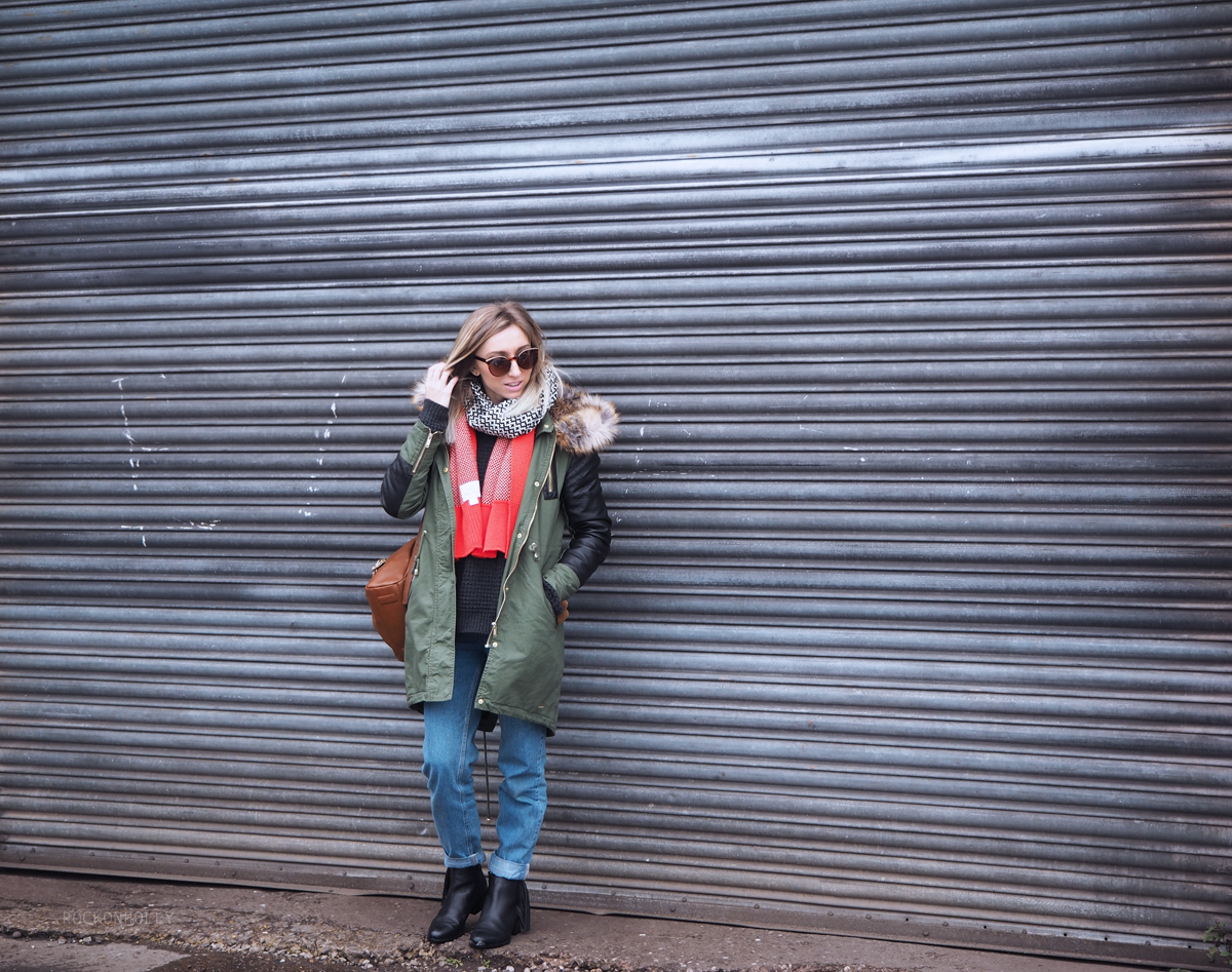 USC Khaki Firetrap Polly Parka on Rock On Holly Fashion Blog