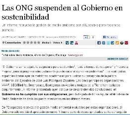 LAS ONG SUSPENDEN AL GOBIERNO EN SOSTENIBILIDAD