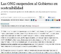 LAS ONG SUSPENDEN AL GOBIERNO EN SOSTENIBILIDAD