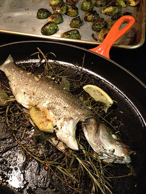 Fatback and foie gras herb roasted branzino with garlic for Branzino fish recipes