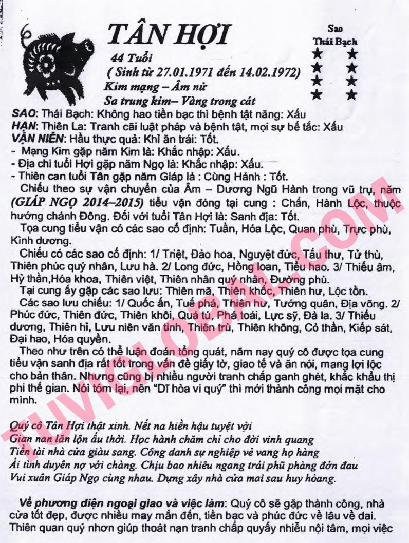 Xem tử vi tuổi Tân Hợi nữ mạng năm 2014 Giáp Ngọ
