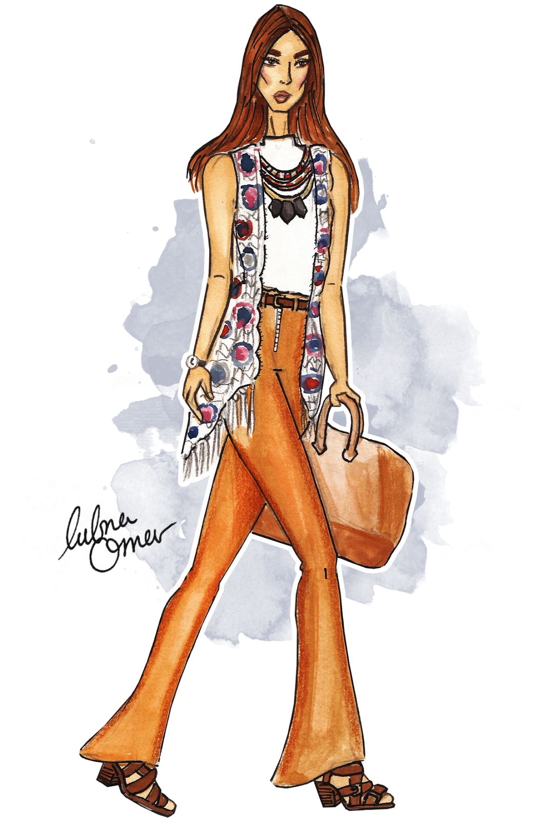 back to school outfit inspiration 70s fever illustration by lubna omar
