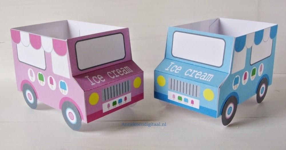 ijs traktatie, traktatie zelf maken, ijscowagen bouwplaat, traktatie zelf printen, printable traktatie