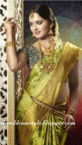 actress anushka in Green wedding silk saree