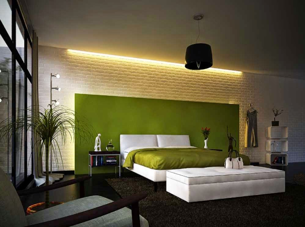 Bedroom Decoration Shades of Green And White Minimalist