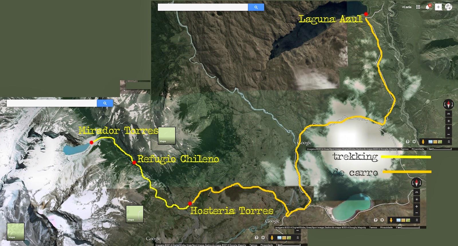 Mapa da aventura de hoje no Parque Torres del Paine