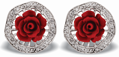 Tanya Rossi Red Rose Silver Earrings TRE 433 Rs 3250