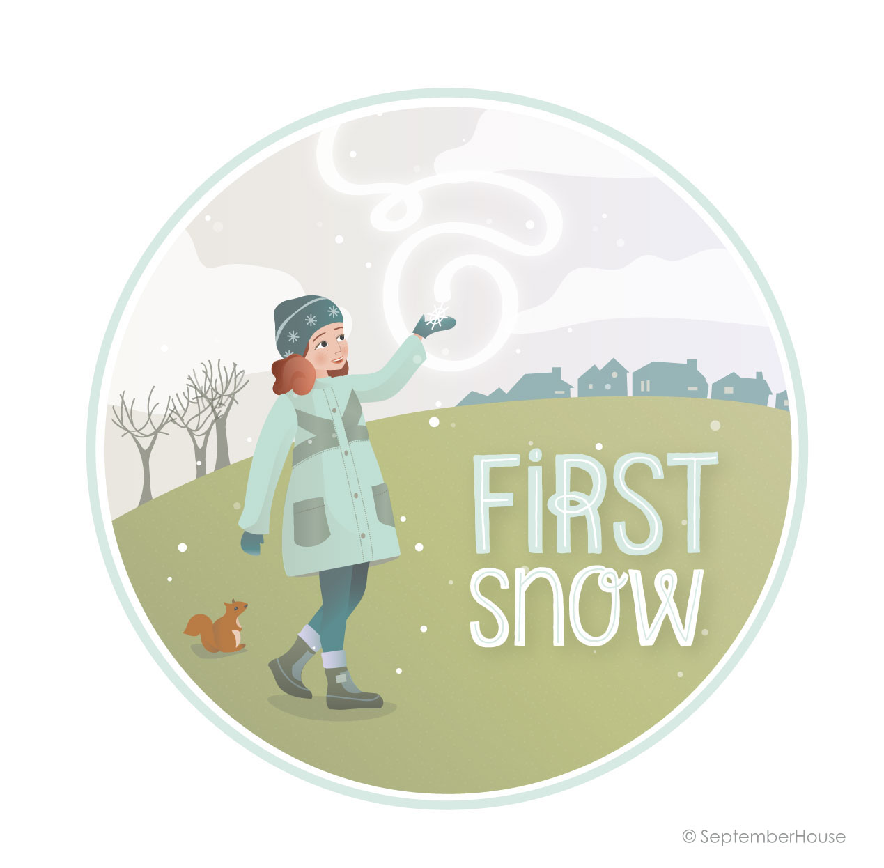 First Snow Winter Illustration, Digital Illustration by SeptemberHouse