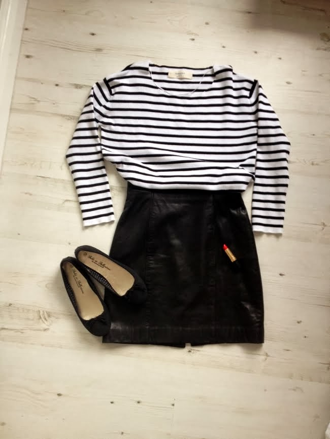 zara breton top, vintage leather skirt, primark black ballet pumps