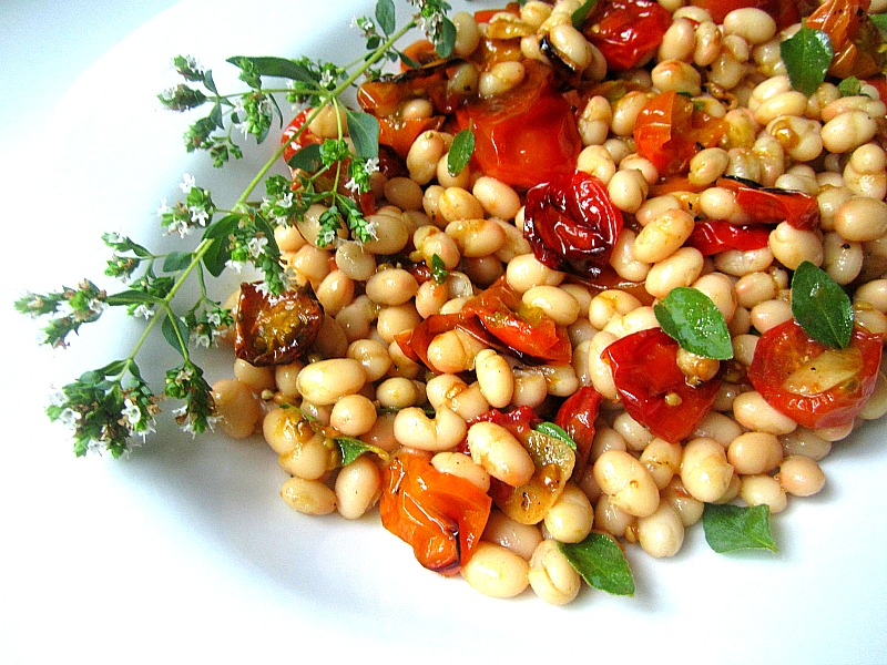 Stacey Snacks: Slow Roasted Tomatoes w/ White Bean Salad