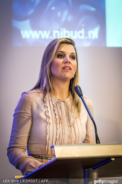 Queen Maxima of The Netherlands attends the jubilee congres of Nibud in het Muntgebouw in Utrecht