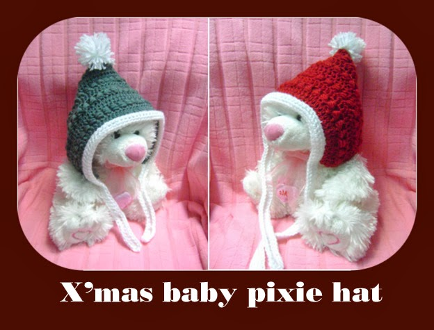 Free Crochet Patterns Christmas Baby Hats : Christmas baby pixie hat