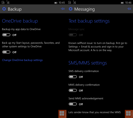 back up settings in windows 10 phone