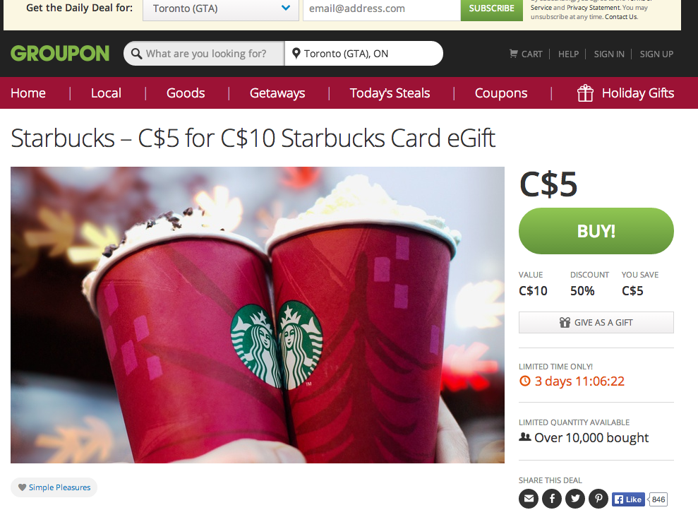 Groupon deal for Starbucks Holiday