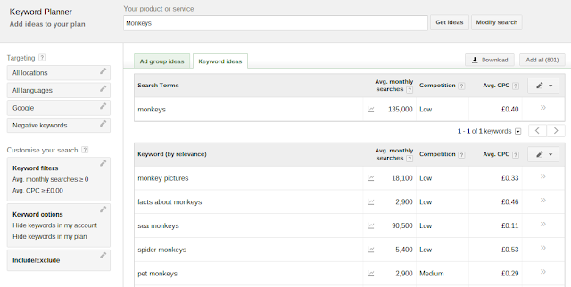 The New Google Keyword Planning Tool Results Page