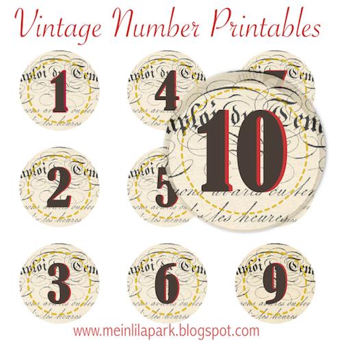 MeinLilaPark: Free printable vintage number stickers - ausdruckbare ...