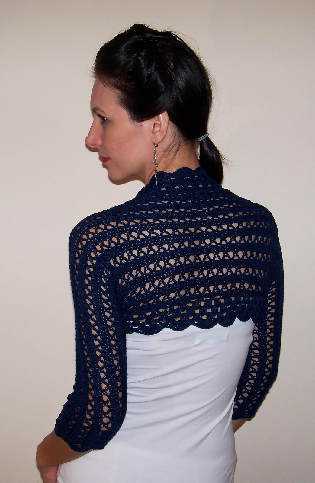 Cotton wedding bolero jacket crochet lace shrug navy blue size XS, S ...