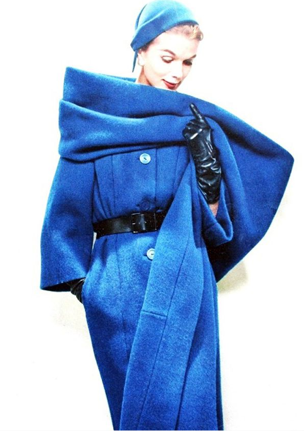 Pierre Balmain ~ 1957 #vintage #coat #blue #1950s #fashion #winter