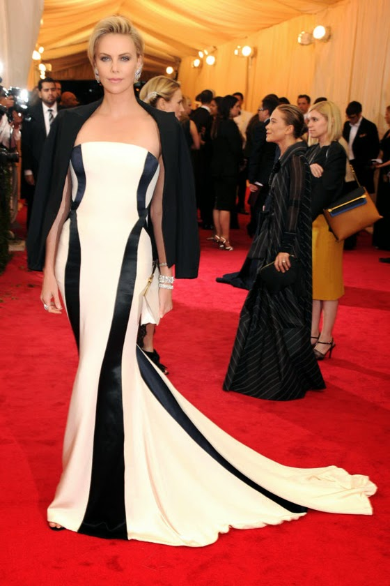 Charlize Theron with Dior Couture dress at Met Gala 2014