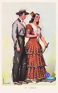 Traje típico de Sevilla - Editorial Artigas 1940 - Diseño: Tuser