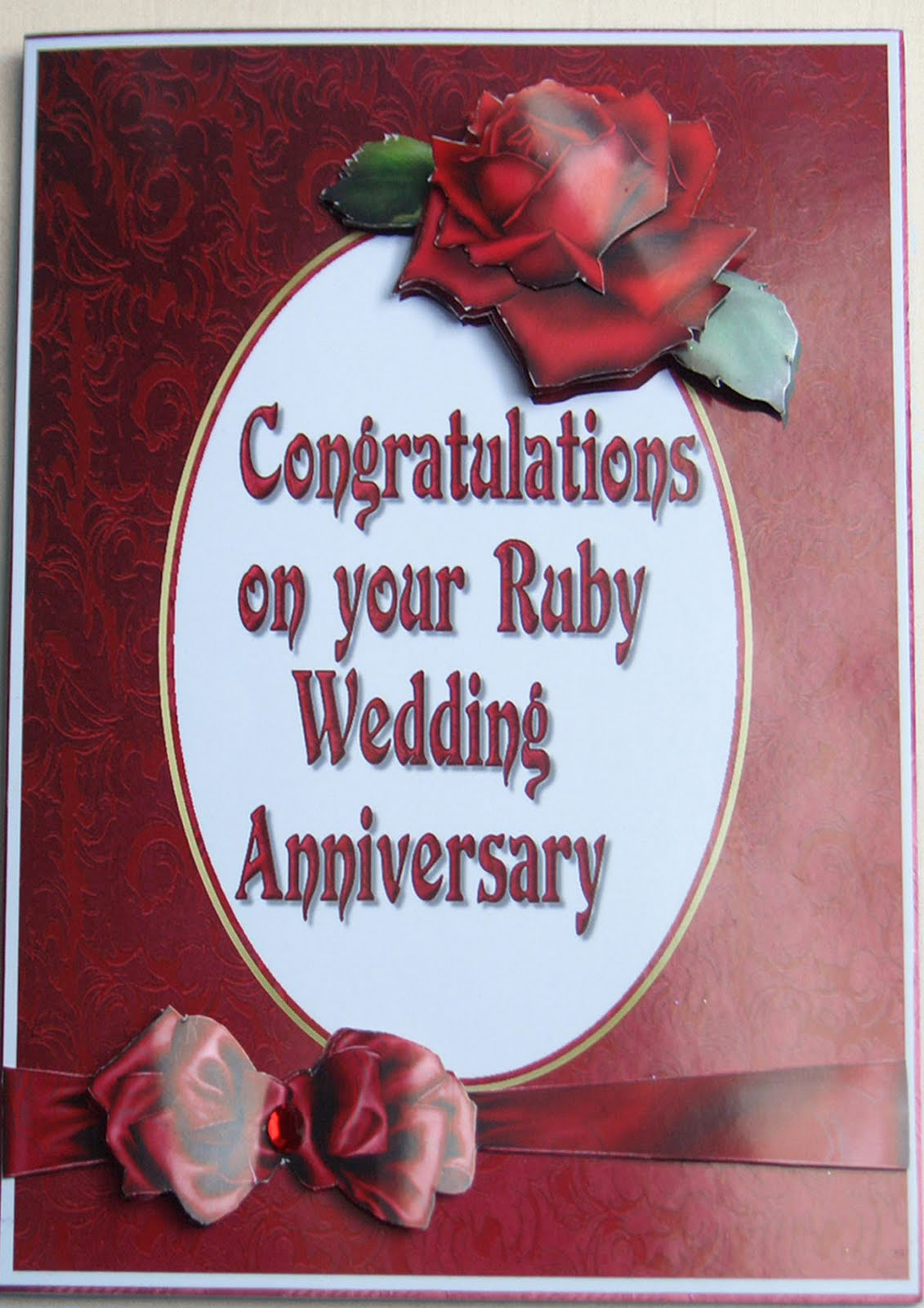 Verona\'s cards for you: Ruby Wedding Anniversary