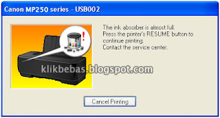 Ink absorber is full printer canon mp287