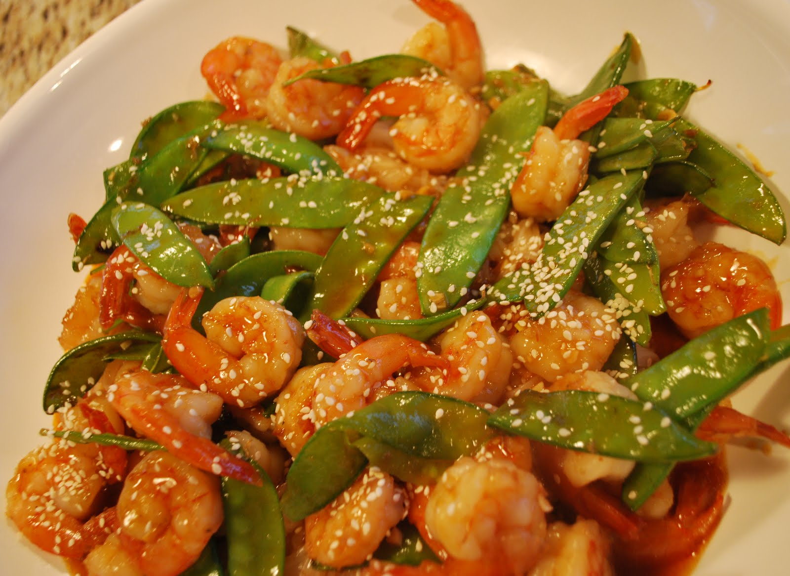 The Simple Fig: Sweet Chili Shrimp with Snow Peas