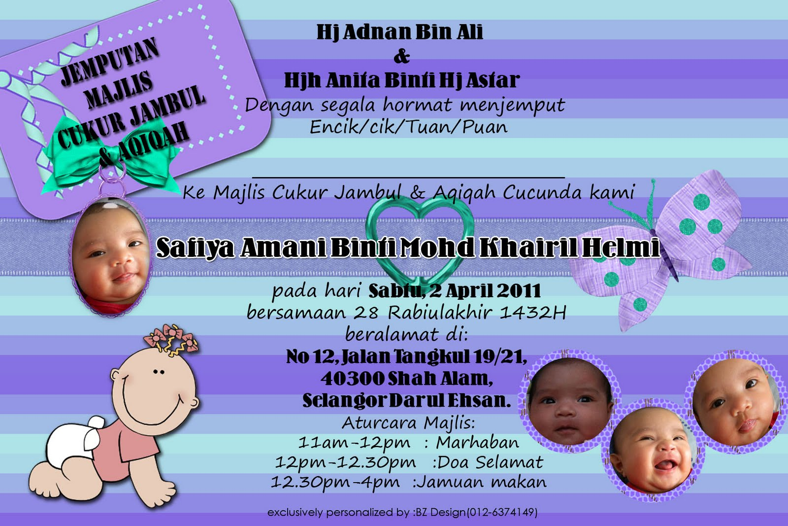 Invitation card - Majlis Akikah.