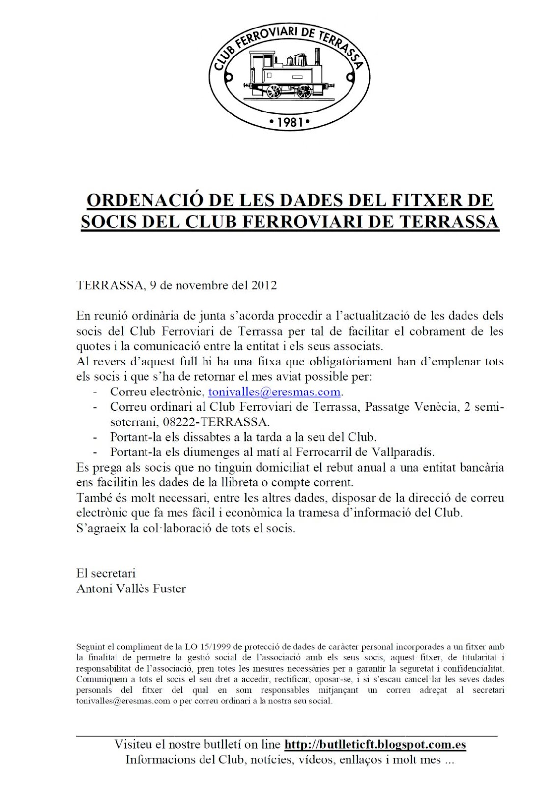 Circular  del Club Ferroviari de Terassa