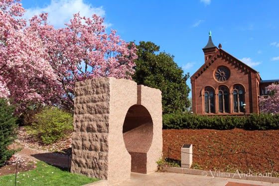 The Smithsonian castle garden during Cherry Blossom festival